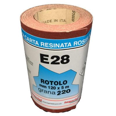 CARTA VETRATA  E28 MM 120X5 MT GR220 scatola da 24 PZ